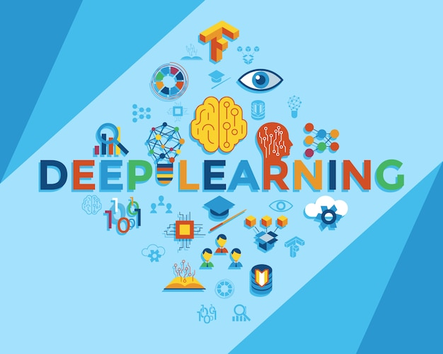 Deep learning and artificial intelligence icons collection