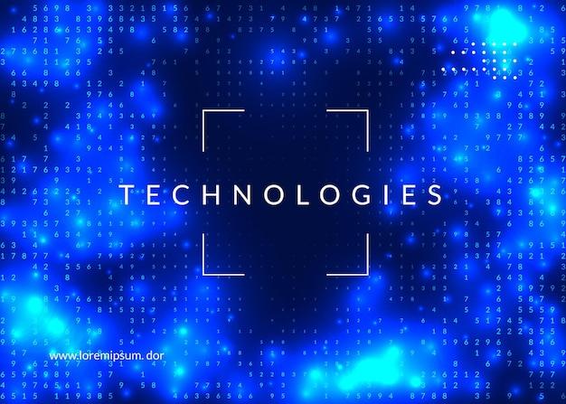 ディープラーニングの背景。ビッグデータ、視覚化、人工知能、量子コンピューティングのためのテクノロジー。イノベーションコンセプトのデザインテンプレート。未来的なディープラーニングの背景。