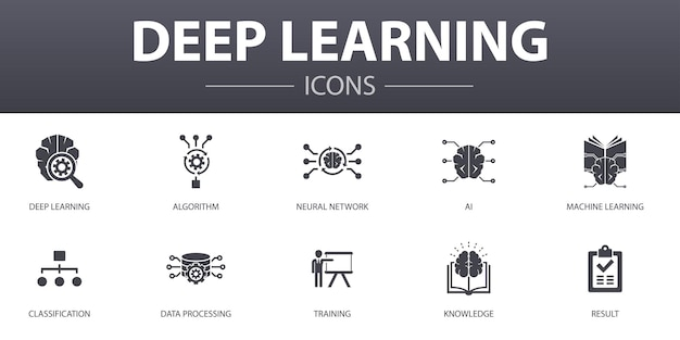 Deep learning simple concept icons set. contains such icons as algorithm, neural network, ai, machine learning and more, can be used for web, logo, ui/ux