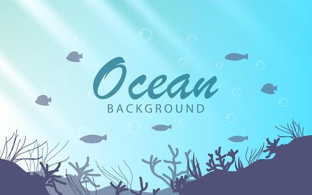 Deep ocean background with sun light