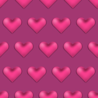 Deep pink valentines day pattern with 3d hearts