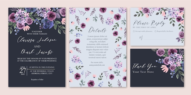 Deep purple elegant floral watercolor wedding invitation