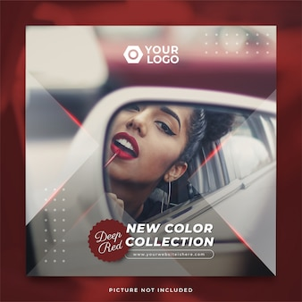 Deep red lipstick new color collection instagram post template