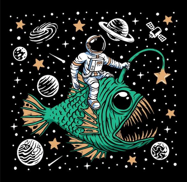 Deep sea fish and astronaut