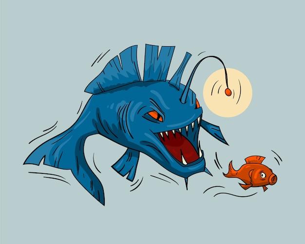 Deep sea fish is an evil predator hunting for fry.