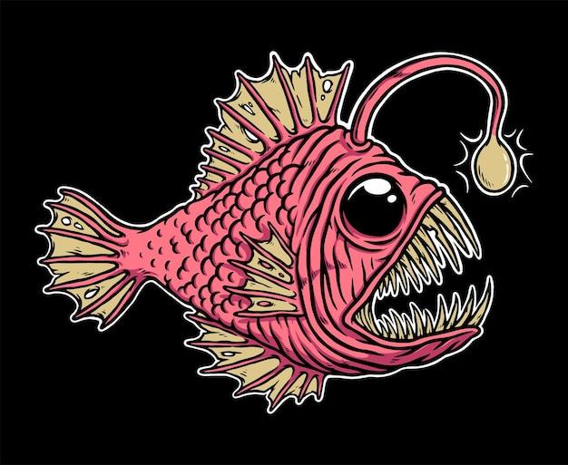 Страшная иллюстрация глубоководной рыбы