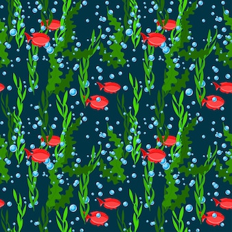 Deep sea underwater seaweed, fish and air bubbles seamless pattern