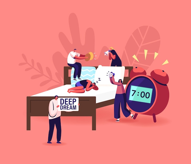 Deep sleep phase, dreaming or nap concept. tiny male and female characters wake up man sleeping on bed with huge alarm clock nearby. people making noise for awaking. cartoon vector illustration