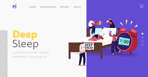 Deep sleep phase, dreaming or nap landing page template. tiny characters wake up man sleeping on bed with huge alarm clock nearby. people making noise for awaking. cartoon vector illustration