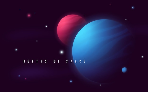 Deep space sci-fi abstract vector illustration.