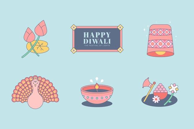 Deepavali, il set di elementi del festival delle luci