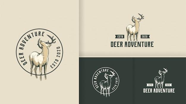 Концепция логотипа deer adventure vintage