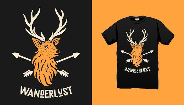 Дизайн футболки с оленями и стрелами