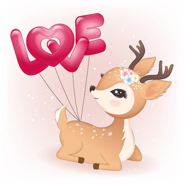 사슴과 하트 발렌타인 개념 풍선