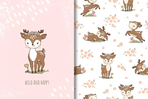 鹿と花の漫画のシームレスなパターンイラスト