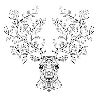 鹿とバラ。大人の塗り絵の手描きのスケッチ図。