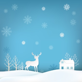 사슴과 눈송이 크리스마스 시즌