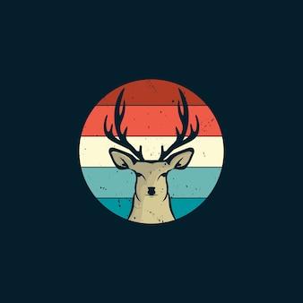 빈티지 스타일 로고의 사슴과 일몰