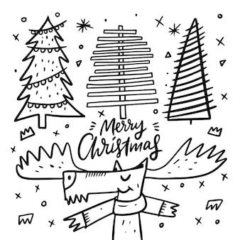 Олень и три новогодние елки. стиль каракули. мультяшная рука рисовать окраску. изолированные на белом фоне