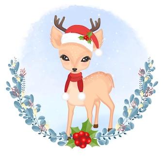 鹿と花輪のクリスマス、冬のシーズンのコンセプト