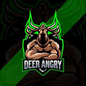 鹿怒っているマスコットロゴeスポーツデザイン