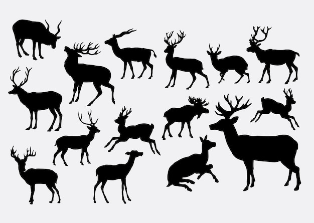 Deer animal action silhouette