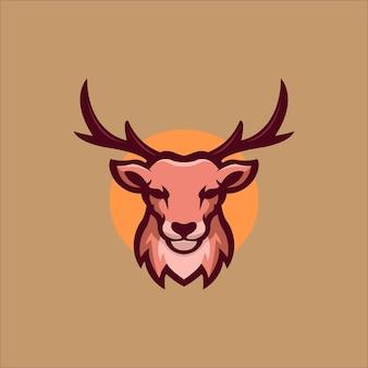 Иллюстрация шаблона логотипа головы животного оленя. киберспорт логотип игры premium векторы