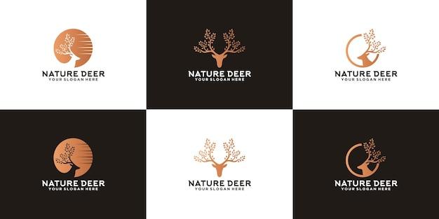 나무 뿔 자연 사슴 사슴 동물 로고 영감 컬렉션