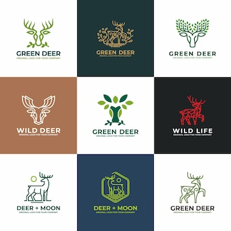 Deer, antelope logo design collection.