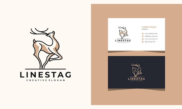 Deer antelope stag minimalist creative logo design with business card