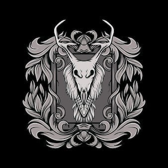 黒と白のスタイルの花飾りイラストと鹿の角の頭蓋骨