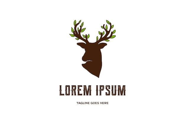 鹿の角の角の木の葉のロゴデザインベクトル