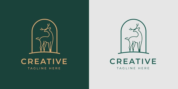 Deer antler logo design template vector illustration of deer antler monoline vintage modern logo line design template
