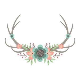 Deer antlers floral