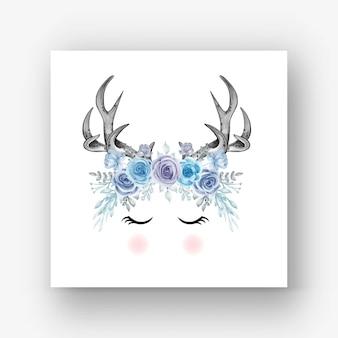 Deer antlers flower blue watercolor illustration