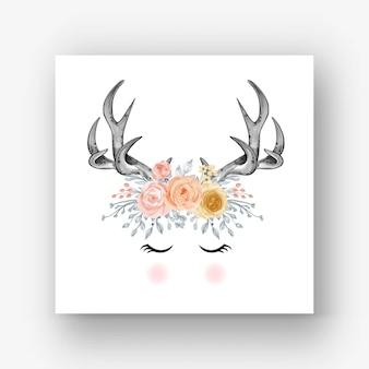 Deer antlers flower watercolor illustration