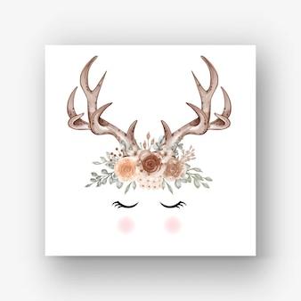鹿の角の花の水彩イラスト
