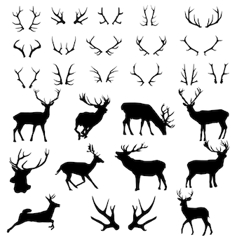 Deer antlers forest animnal silhouetteクリップアート
