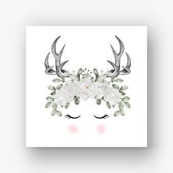 Deer antlers gardenia white flower watercolor illustration