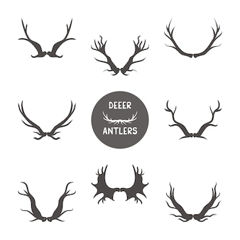 Deer antlers  illustration set
