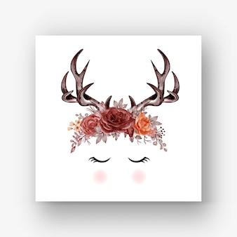 Deer antlers rose autumn flower watercolor illustration