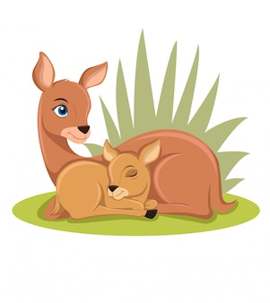 Deer and baby illustration