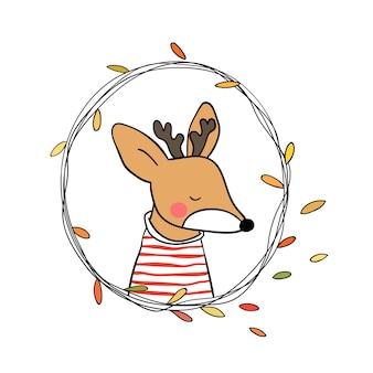 Deer in beauty leave wreath for autumn season