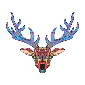 Deer bright colorful head with horns