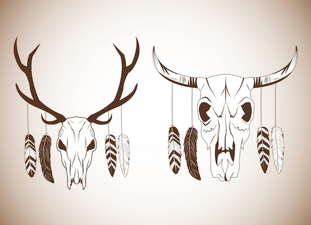 Deer and bull skull icon