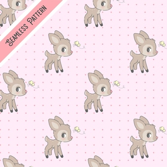 Deer and butterfly seamless pattern
