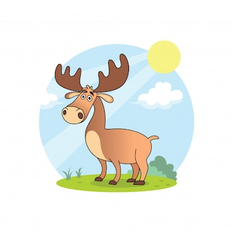 The deer cartoons are relaxing in the summer