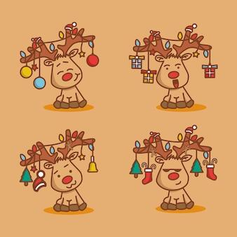 さまざまな顔の鹿のキャラクター