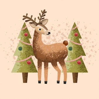 Deer christmas illustration