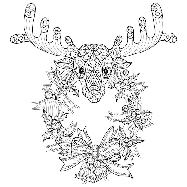Deer and christmas wreath, hand drawn sketch illustration for adult coloring book.